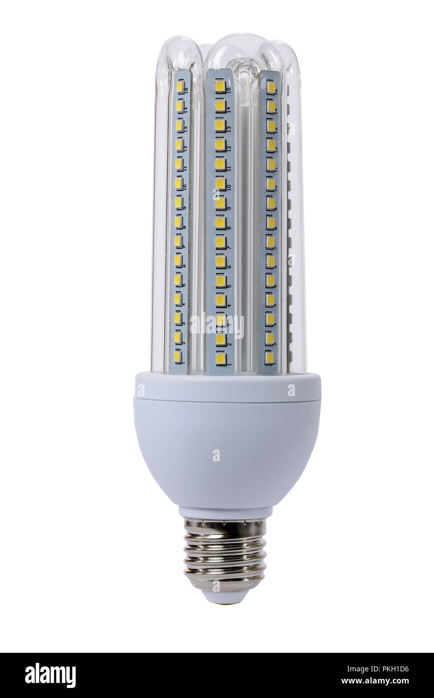 E27 Sockel Led Lamp With Opaque Glass Bulb And E27 Socket White Background