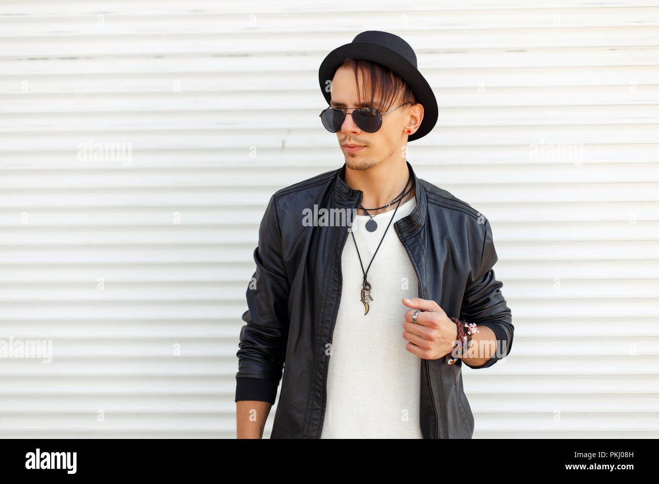 Stylish Clothes Fashionable Handsome Man In Stylish Clothes With Sunglasses And A