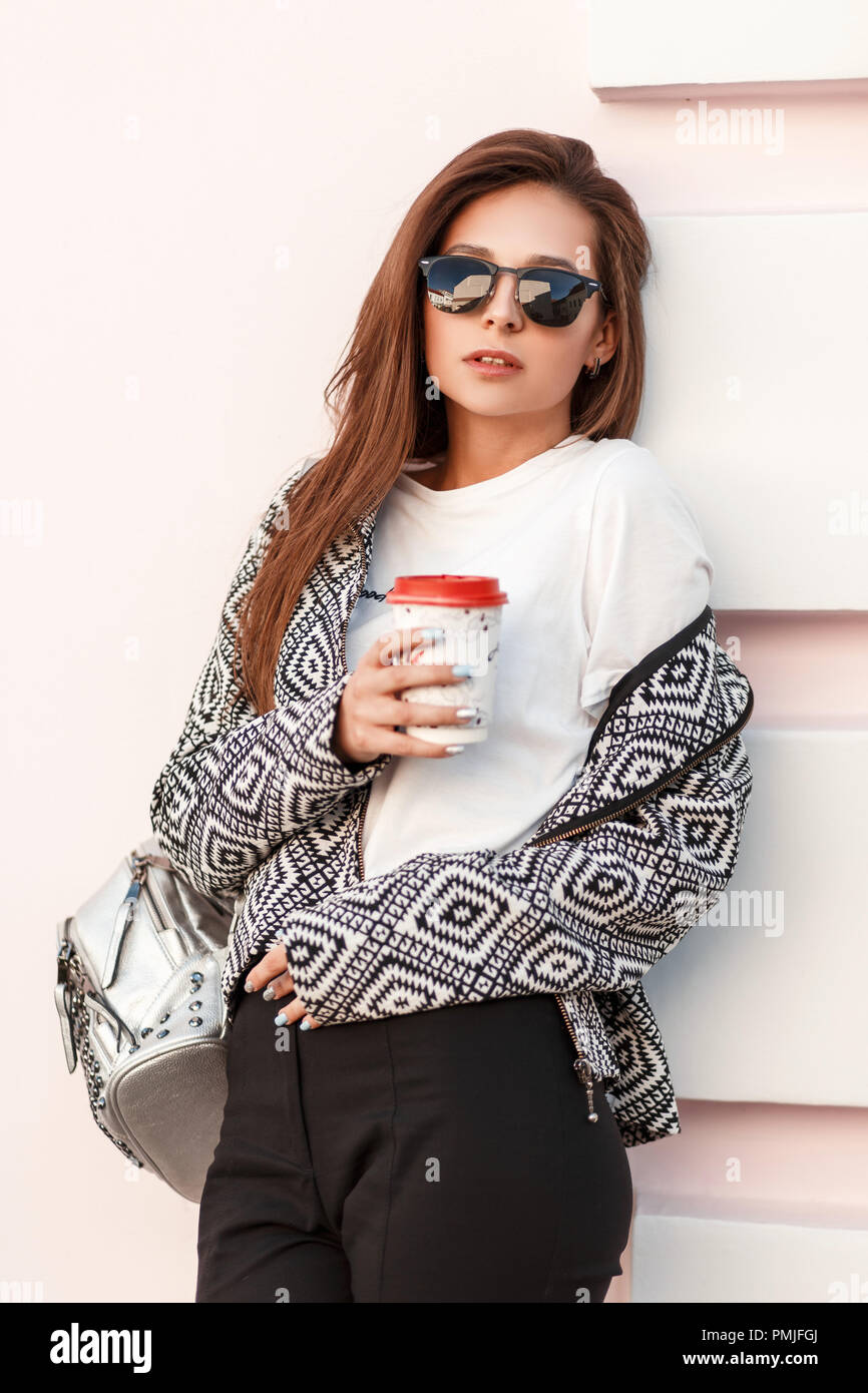 Stylish Clothes Fashion Beauty Young Girl With Coffee In Trendy Stylish Clothes