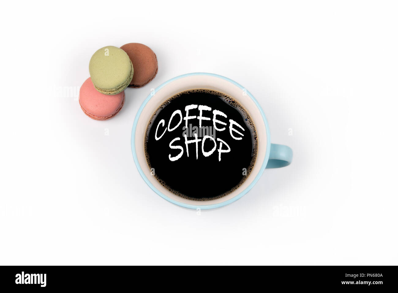 Where To Buy Nice Coffee Mugs Coffee Shop Coffee Mug And Macarons Biscuits Stock Photo
