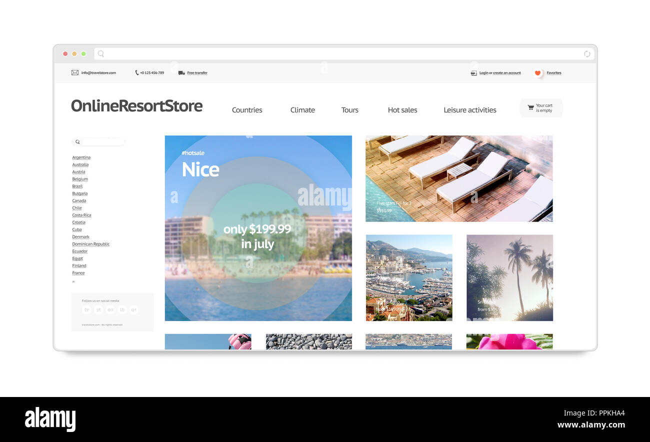Booking Site Travel Resort Webstore Web Site Template Mockup Isolated 3d