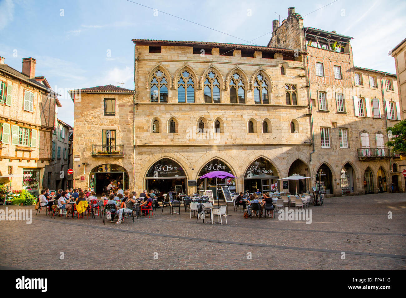 Location Figeac Cafe In Historic Place Champollion In Figeac France Stock Photo