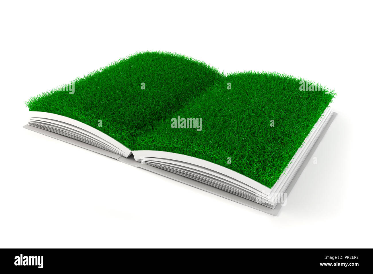3d Open 3d Open Book With Grass Paper Stock Photo 220717002 Alamy