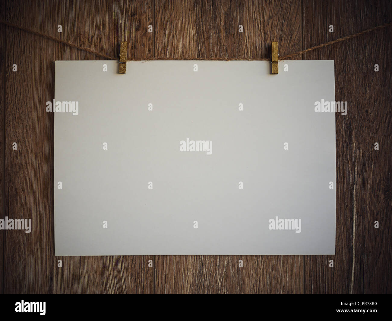 Blank Sign Hanging By Rope On Antique Rustic Wooden Background Empty Paper With Copy Space Free Space Stock Photo Alamy