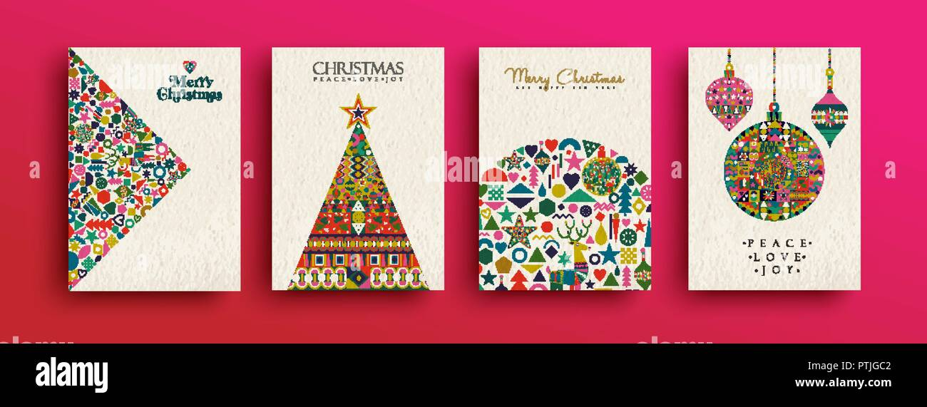 Merry Christmas holiday folk art card collection Template set of