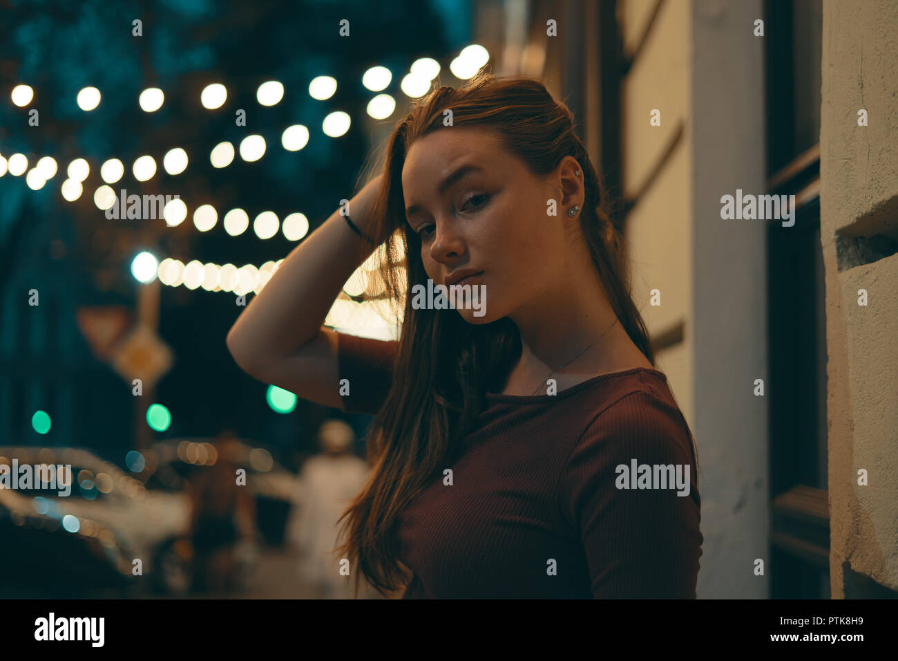 Girl Night Lights Half Length Portrait Of An Attractive Girl Dressed In Casual
