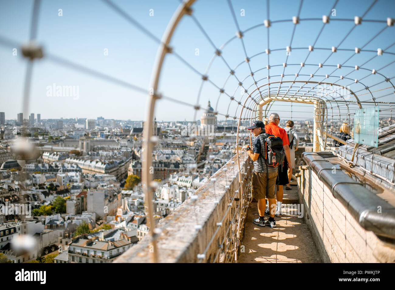 Paris France September 01 2018 Viewpoint Terrace On The Top Of Notre Dame Cathedral With Tourists In Paris Stock Photo Alamy