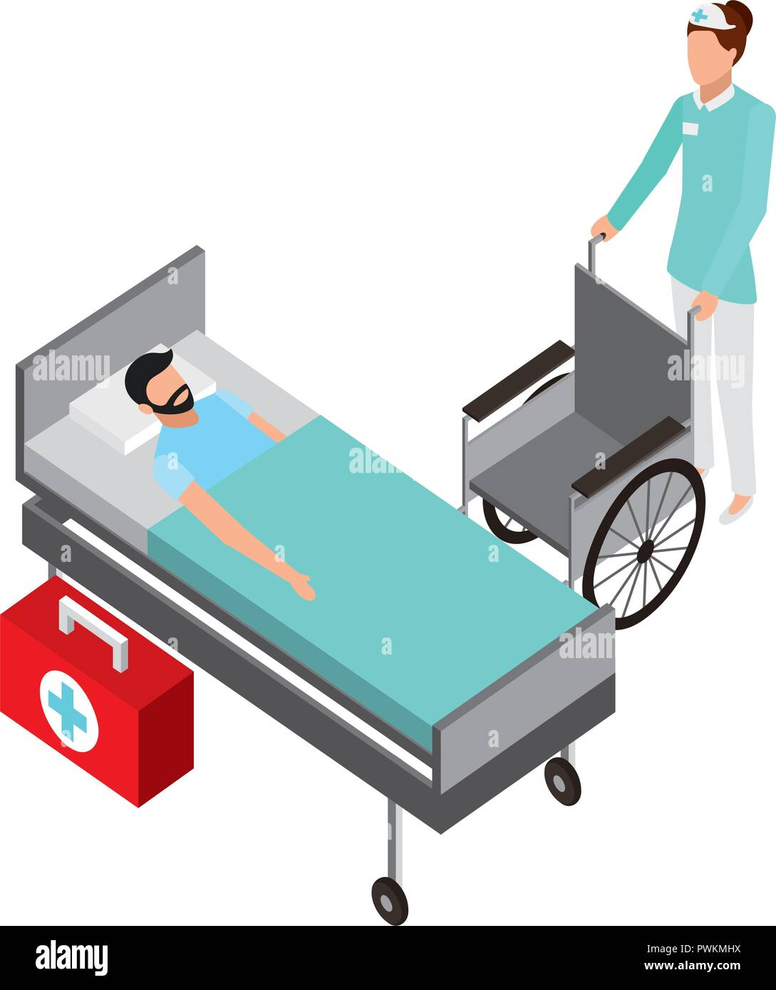 Bed Wheelchair Nurse With Wheelchair Patient In Bed Medical Vector Illustration