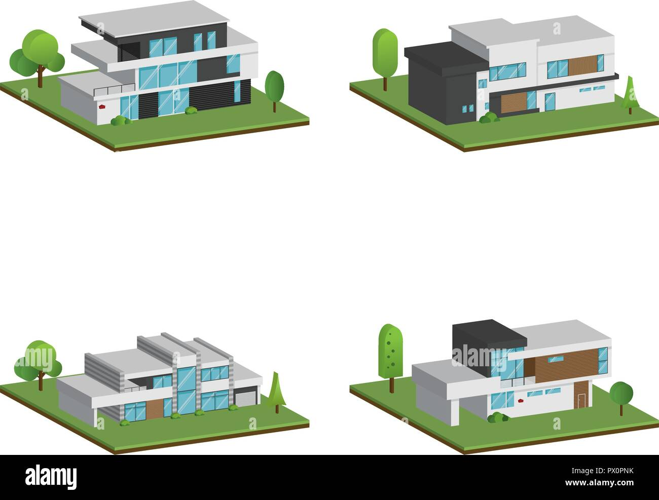 3d Home Set Of Isometric Four Houses And Modern Houses Design 3d Modern