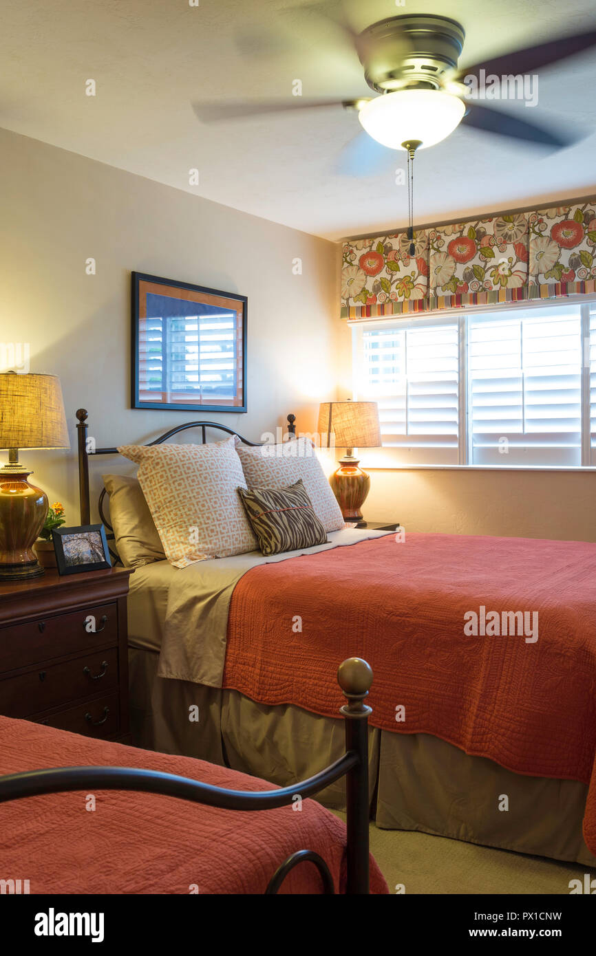Upscale Ceiling Fan Twin Bed Guest Room In Upscale Home Florida Usa Stock Photo