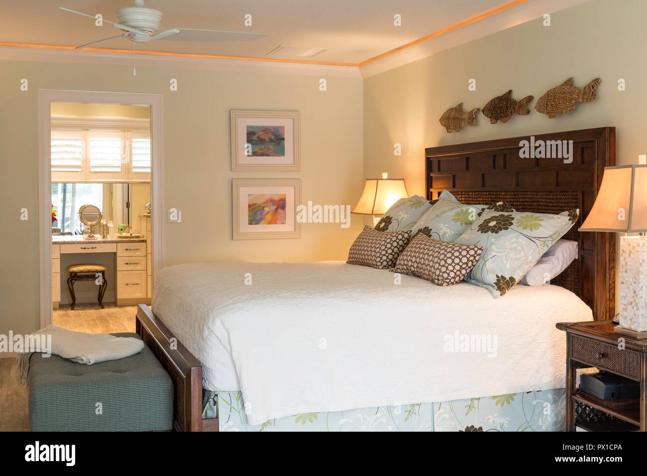 Upscale Ceiling Fan Master Bedroom Suite In Upscale Florida House Usa Stock Photo