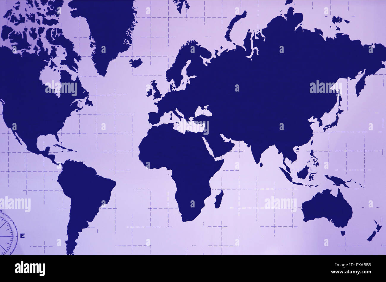 Atlas Decoration World Atlas Wall Decoration In Navy Blue And Pastel Purple Color