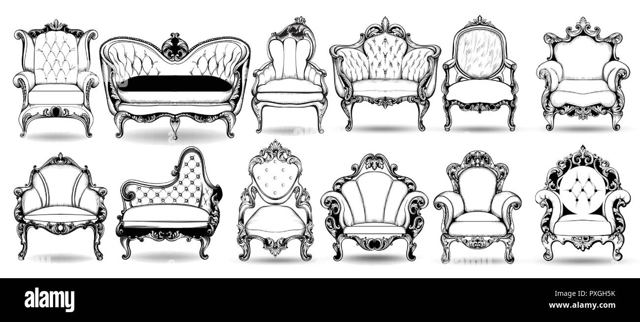 Sofa Texture Vector Baroque Armchair And Sofa Collection Vector French Luxury Rich