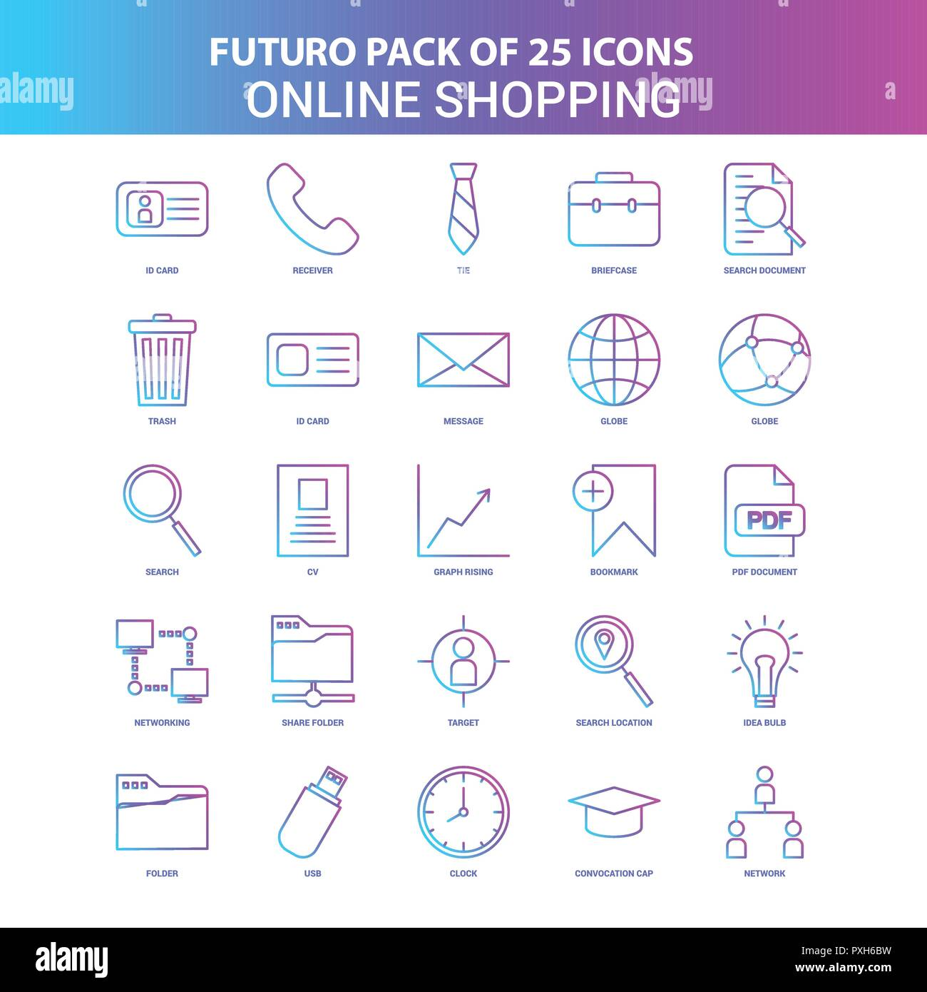 Online Pack 25 Blue And Pink Futuro Online Shopping Icon Pack Stock Vector Art