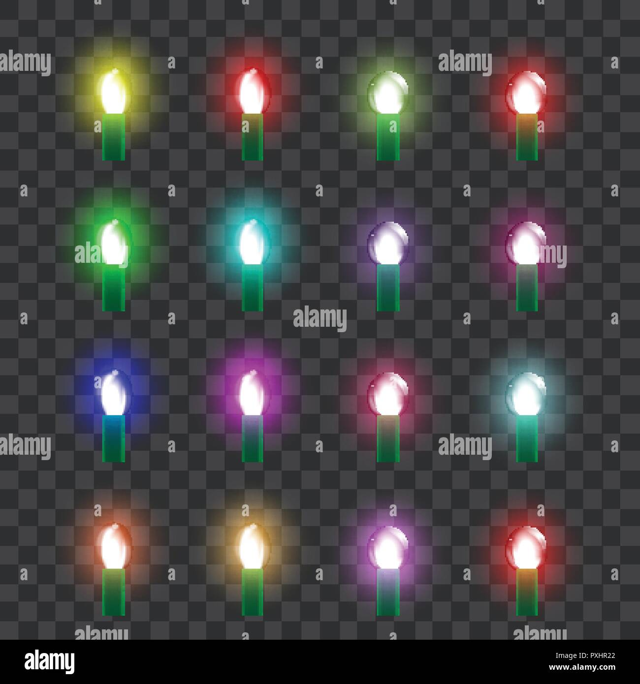 Glass Lamp Vector Set Of Colored Neon Glass Lamps In Retro Style Vector Stock