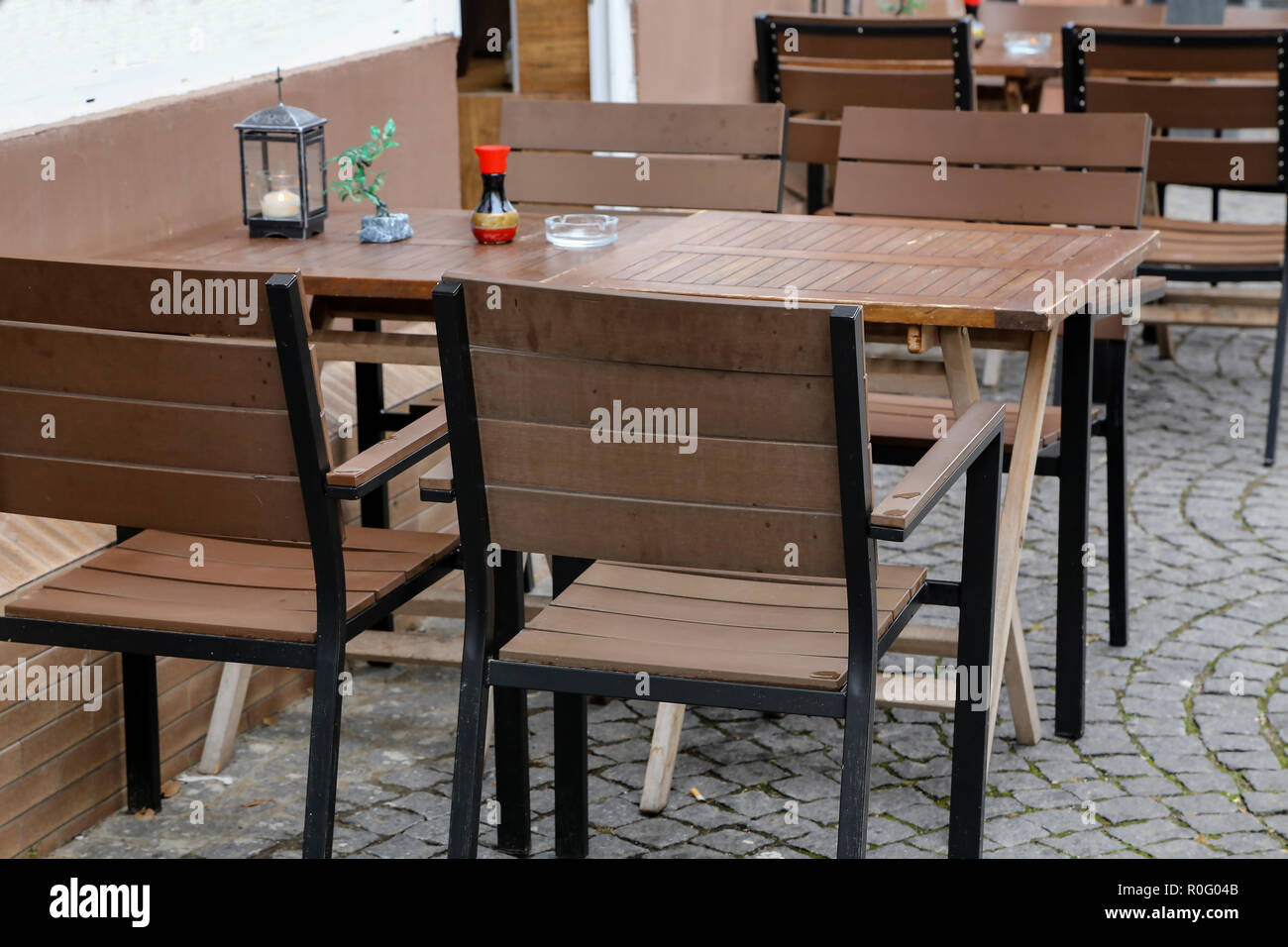 Reastaurant Tables Cozy Street Restaurant Tables And Chairs In The Street Stock