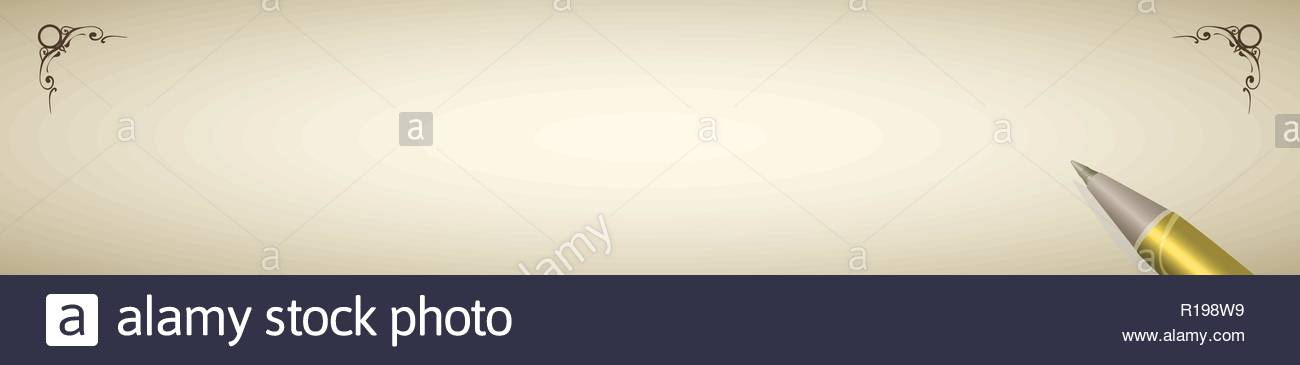 Gold pen and retro writing paper in horizontal format Stock Vector