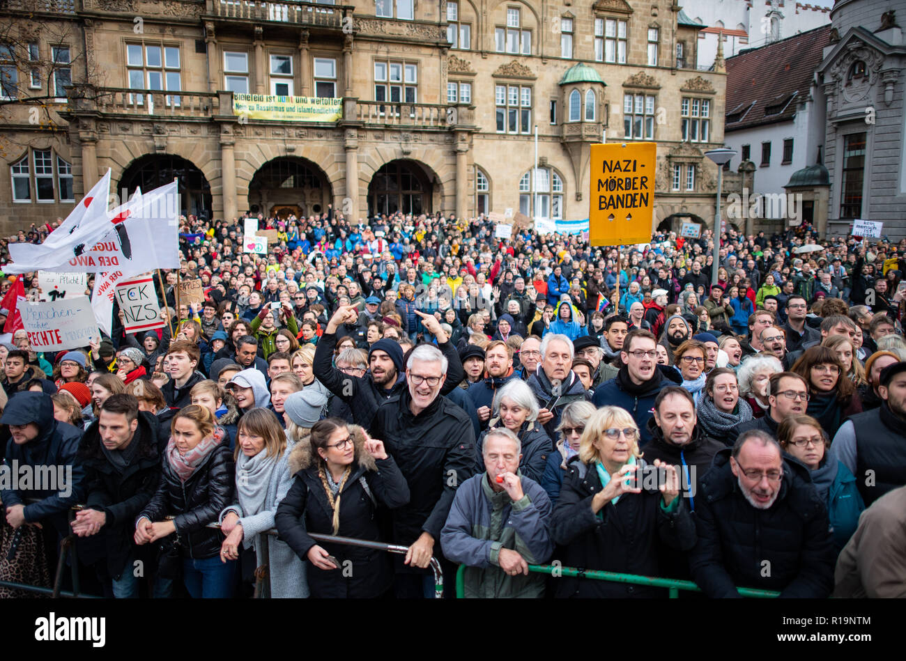 Events Bielefeld Bielefeld Germany 10th Nov 2018 Counter Demonstrators Stand At