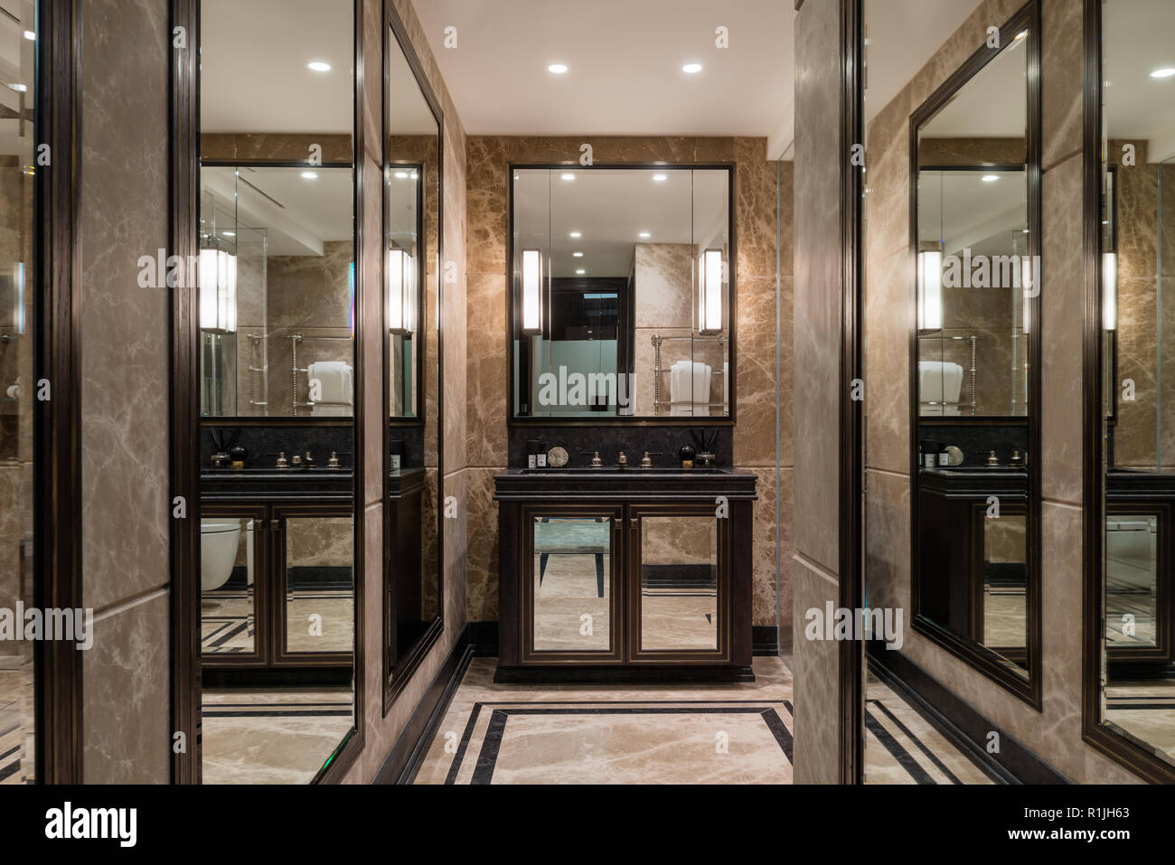 Bathroom With Mirrors Masculine Bathroom With Mirrors Stock Photo 224758075 Alamy