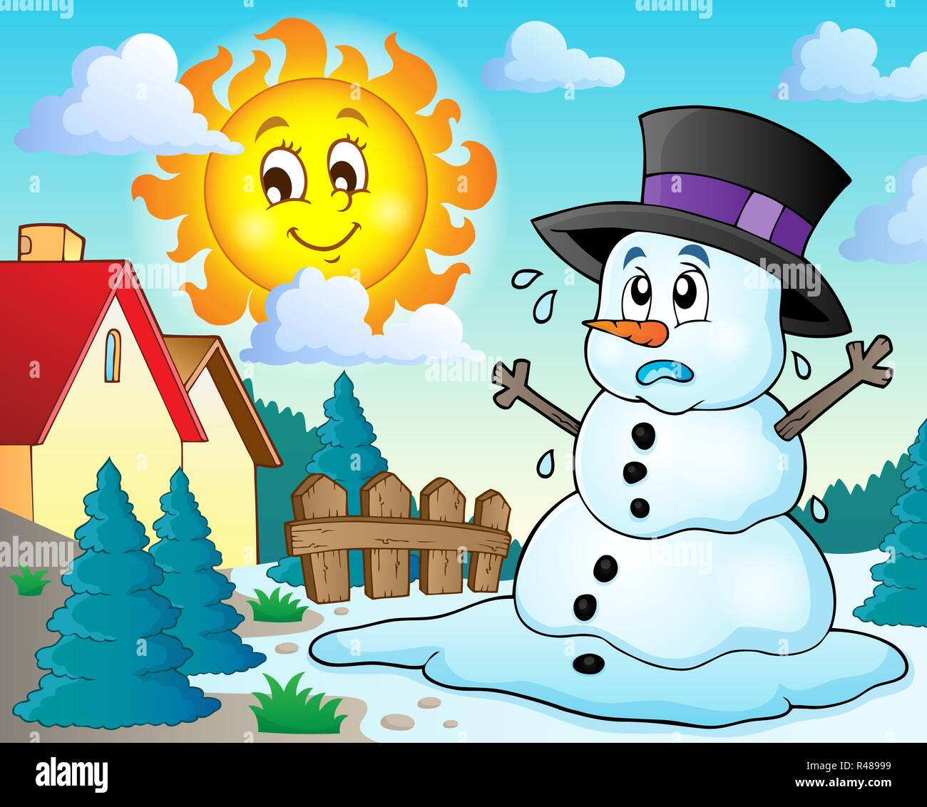 Melting Snowman Spring High Resolution Stock Photography And Images Alamy