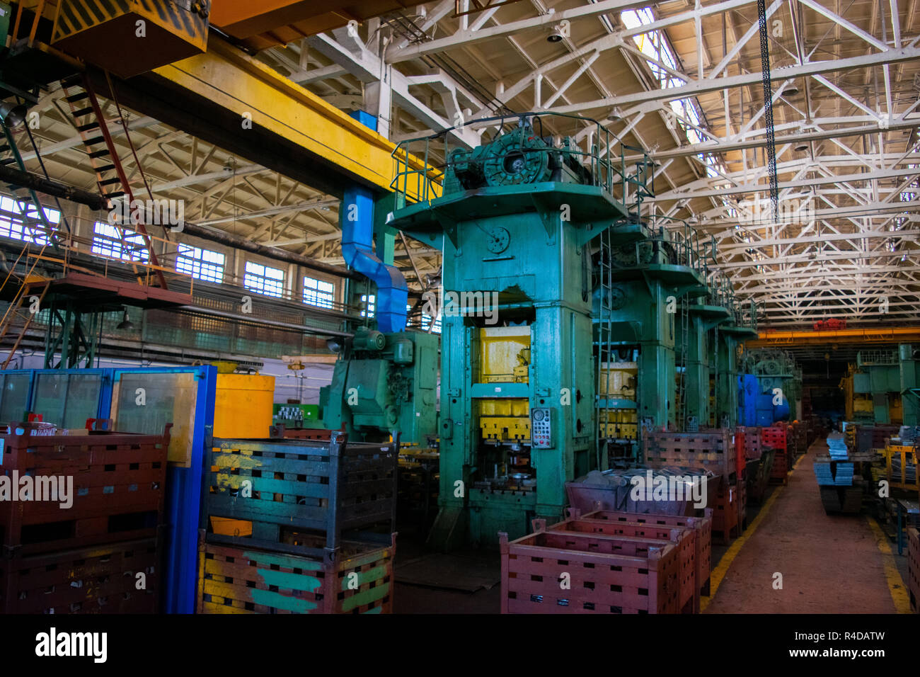 Industrial Forging Machine Shop Of Metallurgical Works Indoors Room Pressing Machine