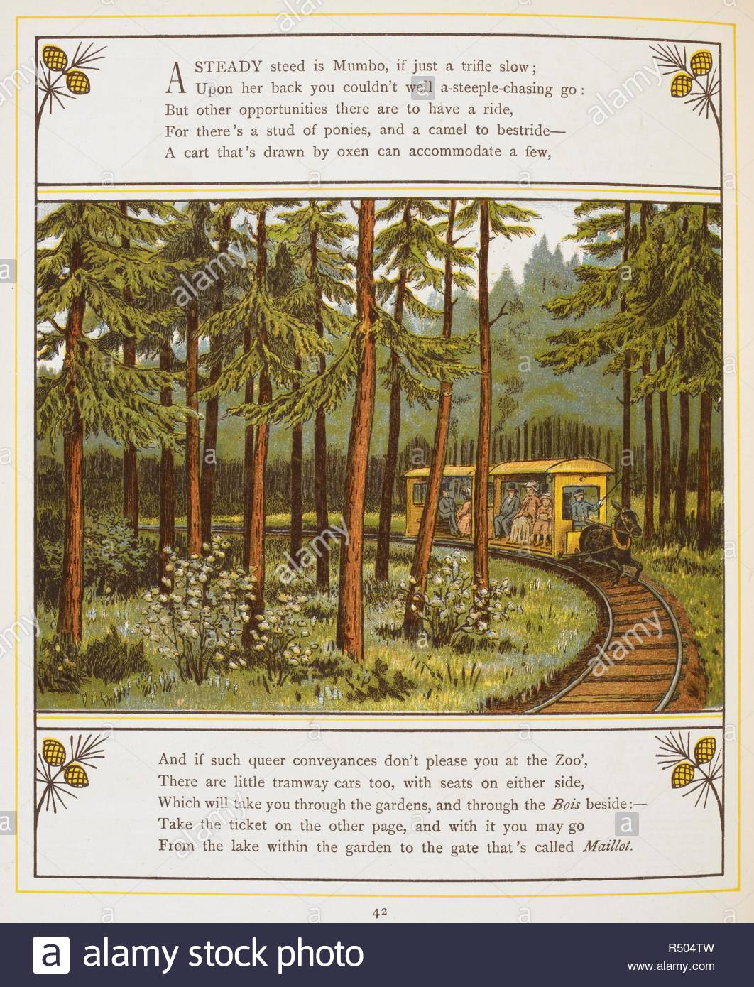 But Jardin A Tramway Pulled By A Donkey Or Mule Carrying Passengers Through