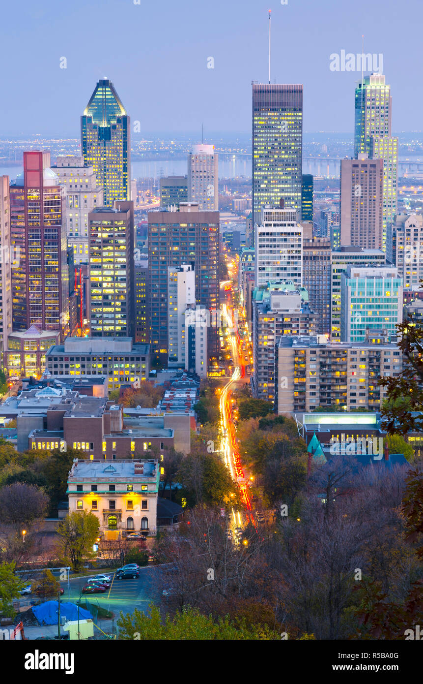 Quebec Montreal Canada Quebec Montreal Downtown From Mount Royal Park Or Parc