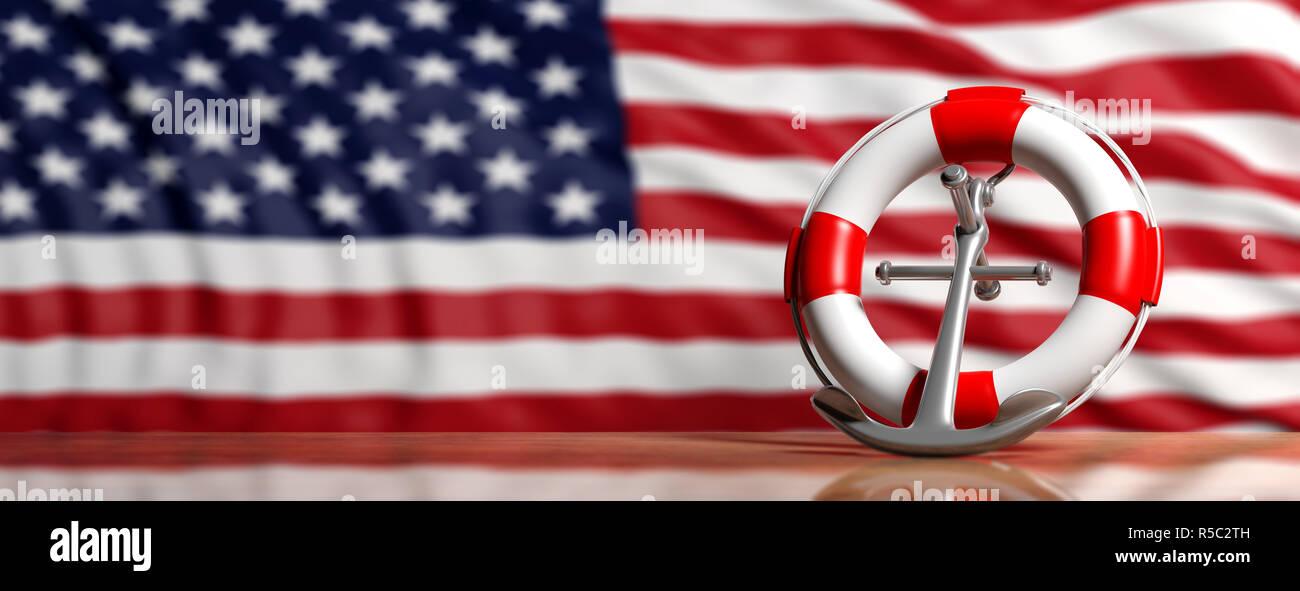 USA navy merchant trade, coast guard day concept  Lifebuoy and ship