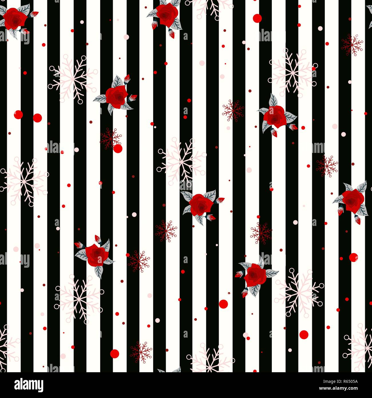 Abstract Seamless Geometric Horizontal Striped Pattern With Black And White Stripes Flower And Snowflake Vector Illustration Eps 10 Stock Vector Image Art Alamy