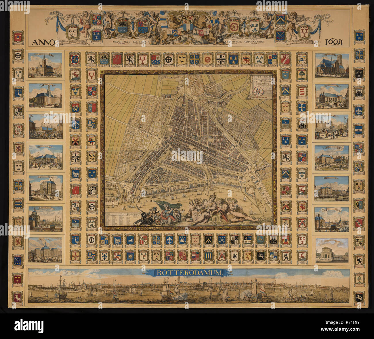Poort Frame Johannes De Vou Colored Print Without Frame Rotterdam Map By