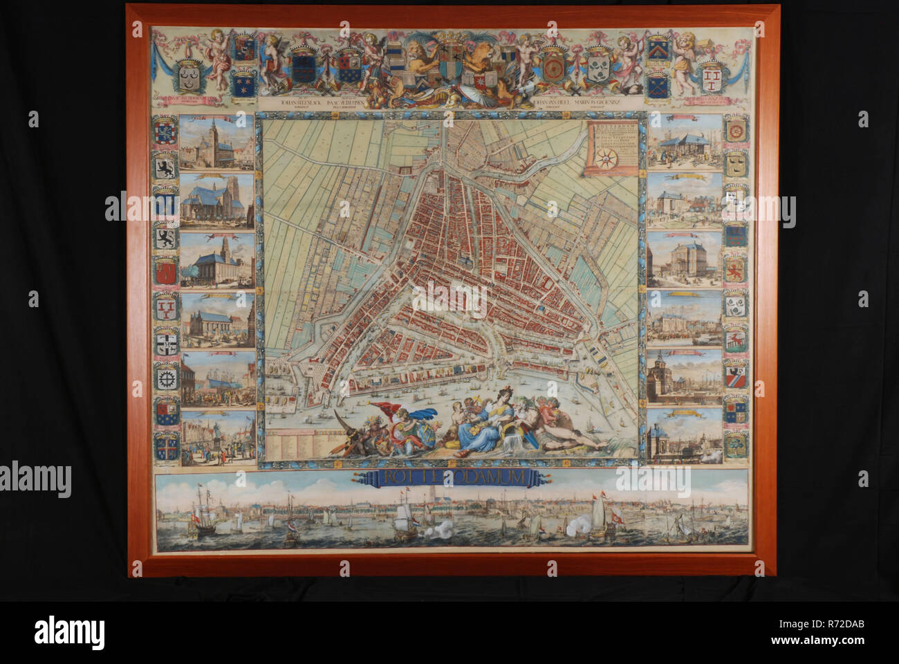 Poort Frame Johannes De Vou Colored Print With Frame Map Of Rotterdam By