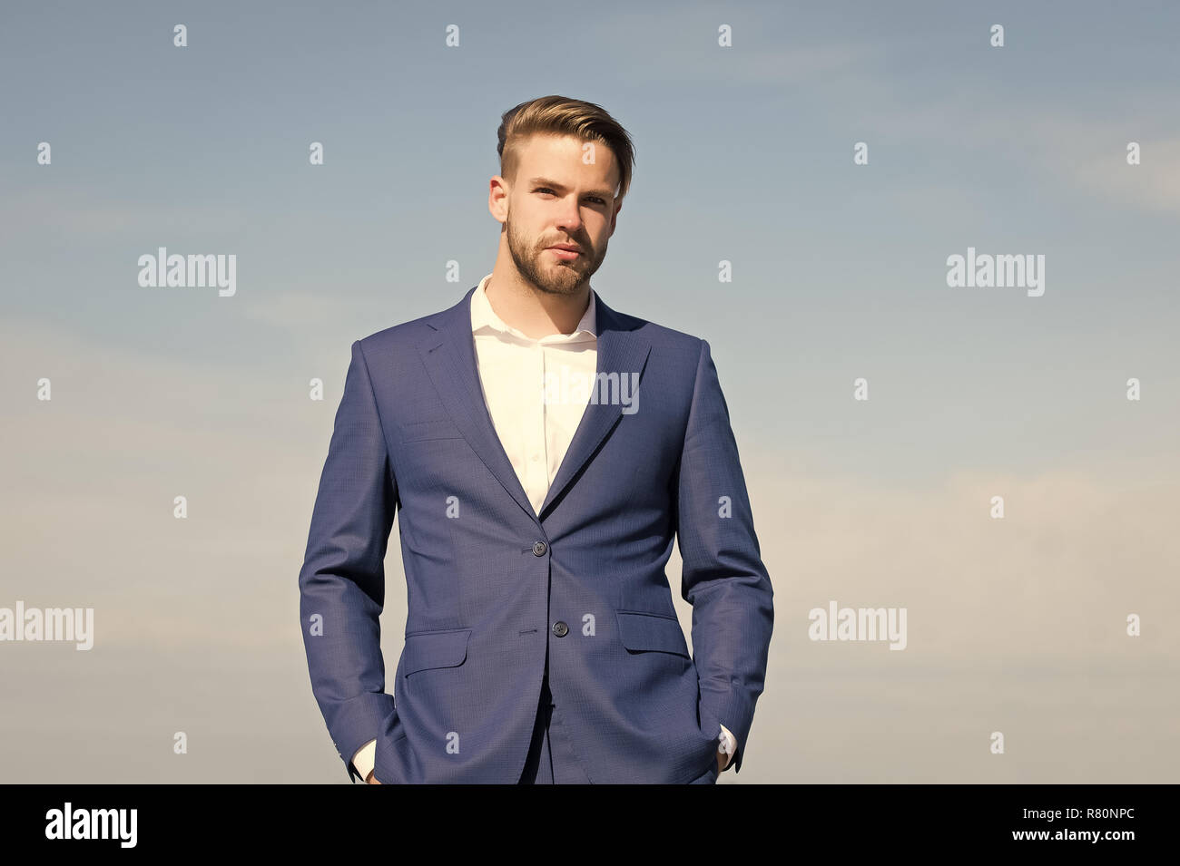 Freedom Coat Stand Man In Business Suit Fashion Businessman Stand On Blue Sky