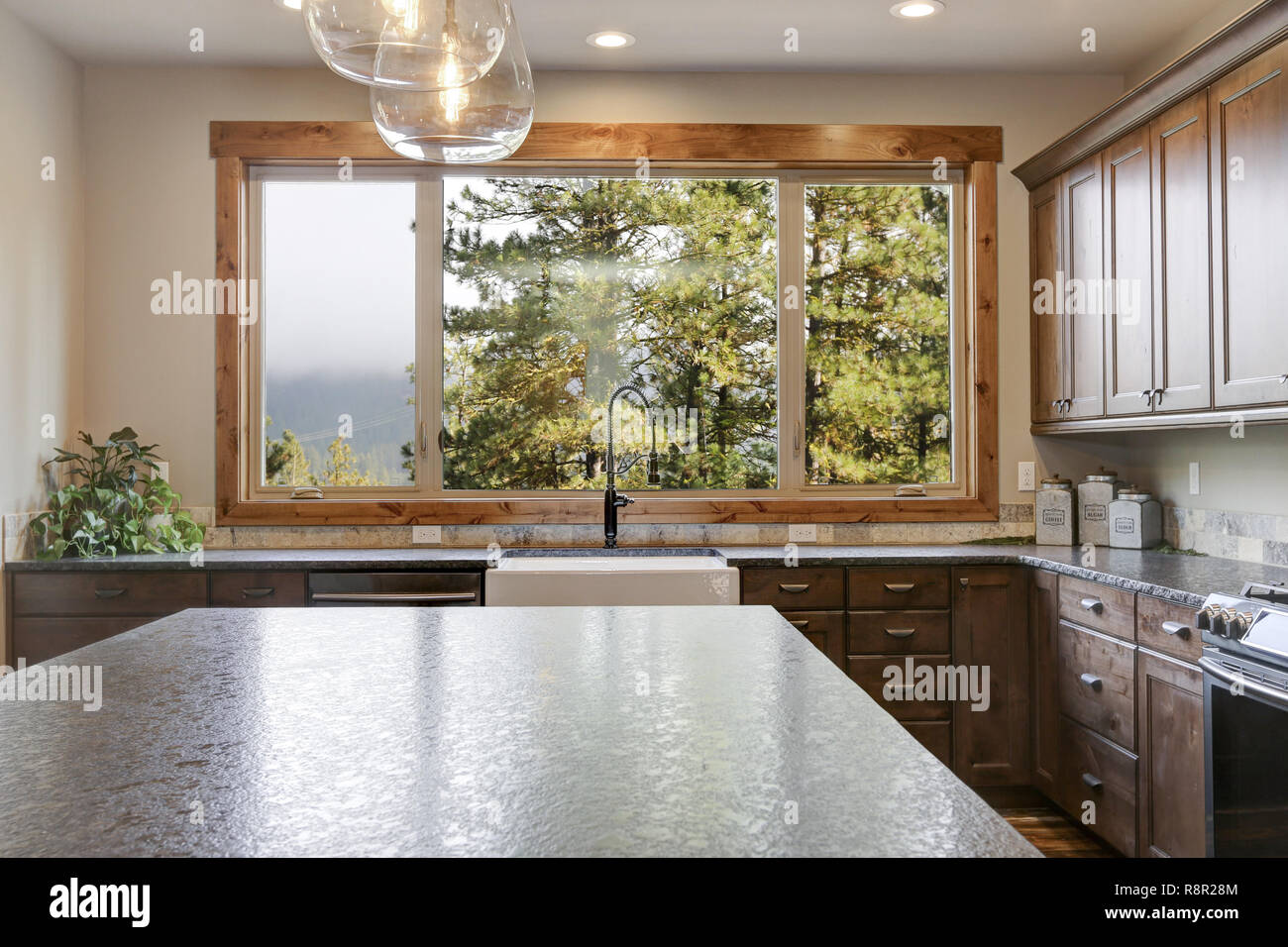 Kitchen Design Open Plan Luxurious Open Plan Kitchen Design With Large Center Island Granite