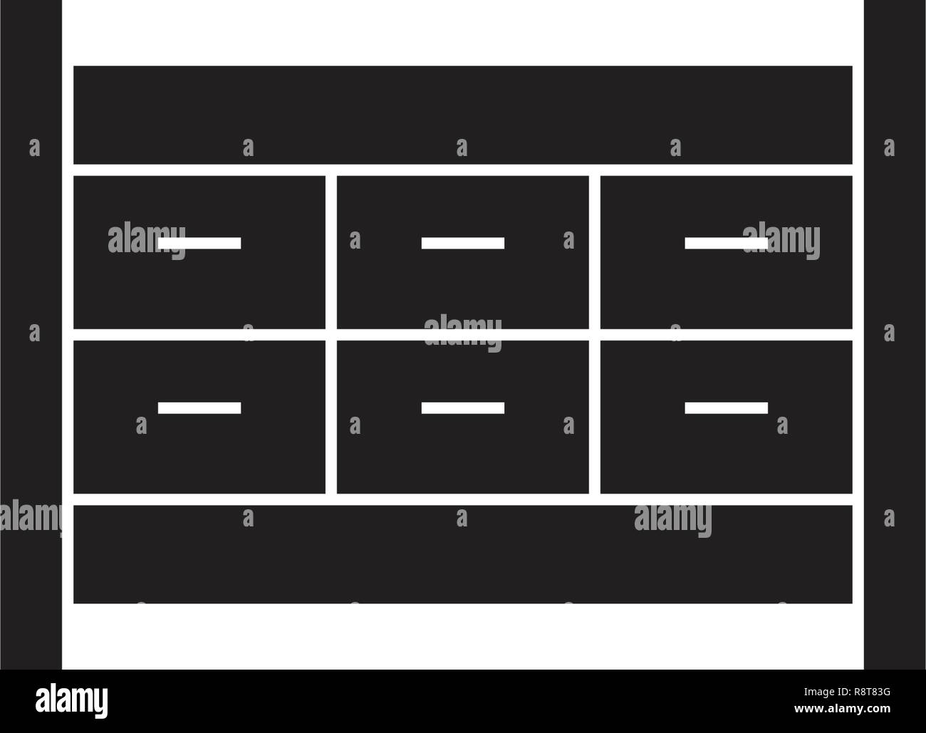 Filing Cabinet Icon Flat File Cabinet Drawer Black Vector Concept Icon File Cabinet Drawer