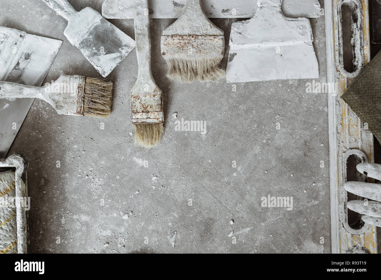 Concrete Rooms Tools For Finishing The Rooms On The Concrete Floor Background