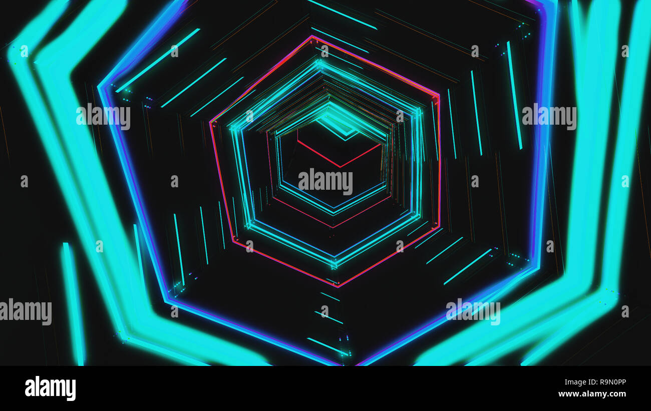 V J Futuristic Hud Blue Hex Tunnel Vj 4k Neon Motion Graphics