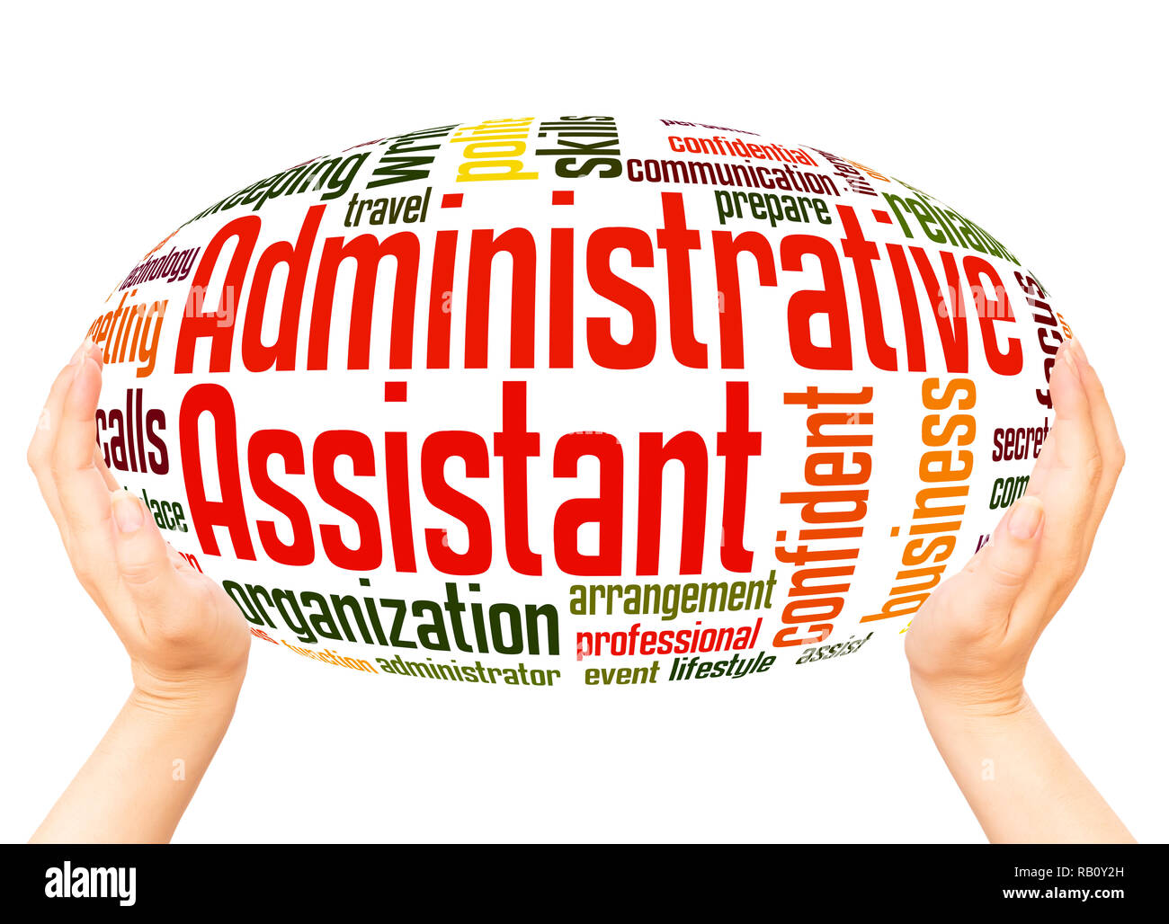 Administrative Assistant Administrative Assistant Word Cloud Hand Sphere Concept On White