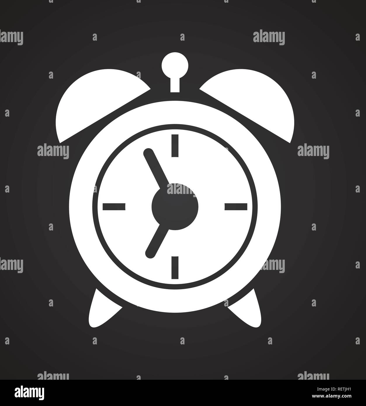 Simple Modern Alarm Clock Alarm Clock Icon On Black Background For Graphic And Web Design
