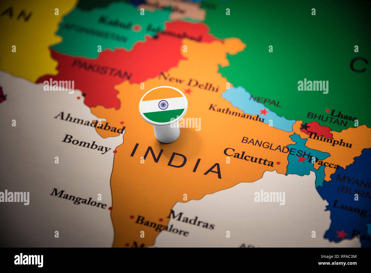 Drapeau India India Marked With A Flag On The Map Stock Photo 233183656 Alamy
