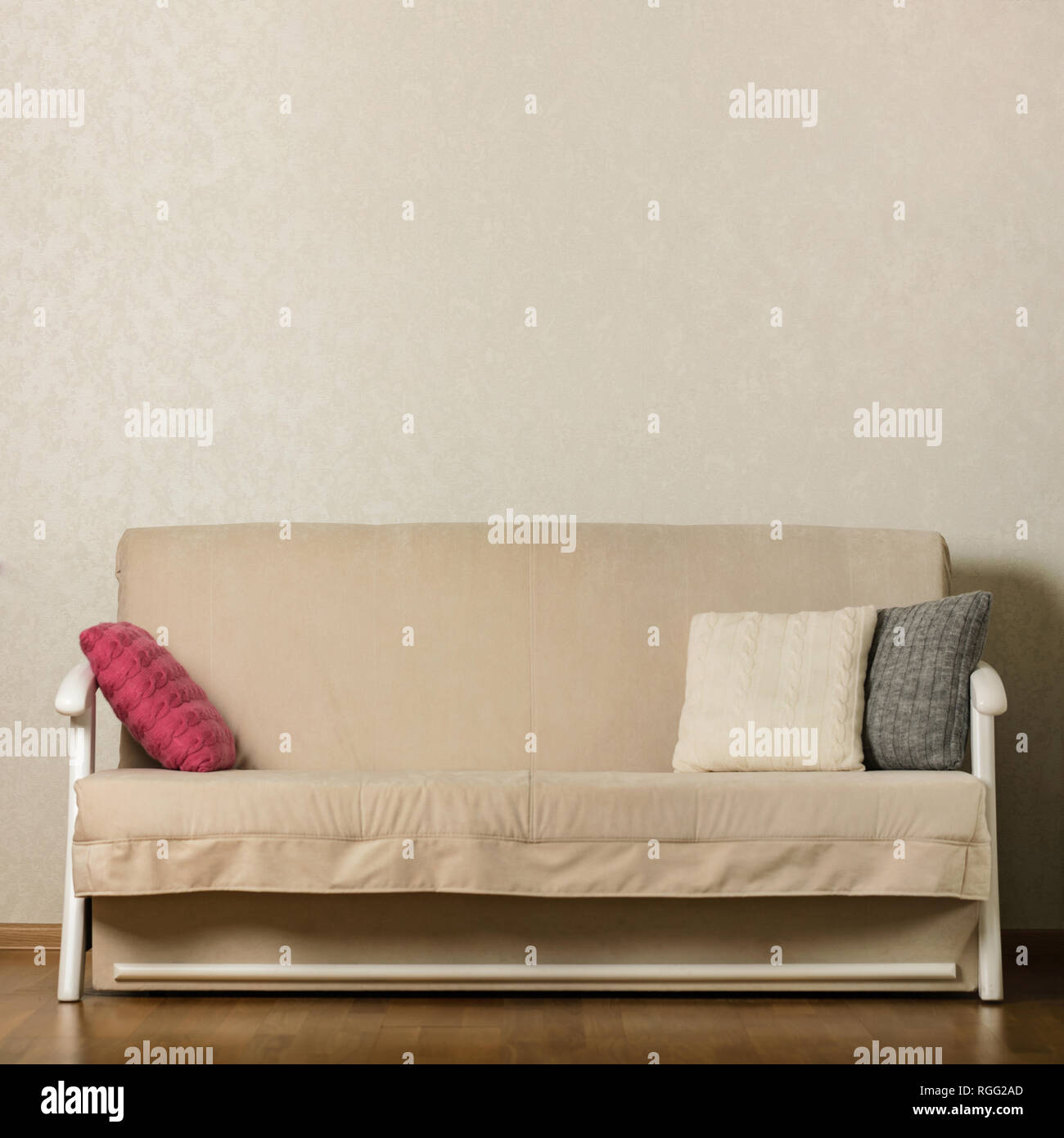 Focus On Furniture Sofa Bed Beige Sofa With Colorful Pillows Pink Grey White In The Living