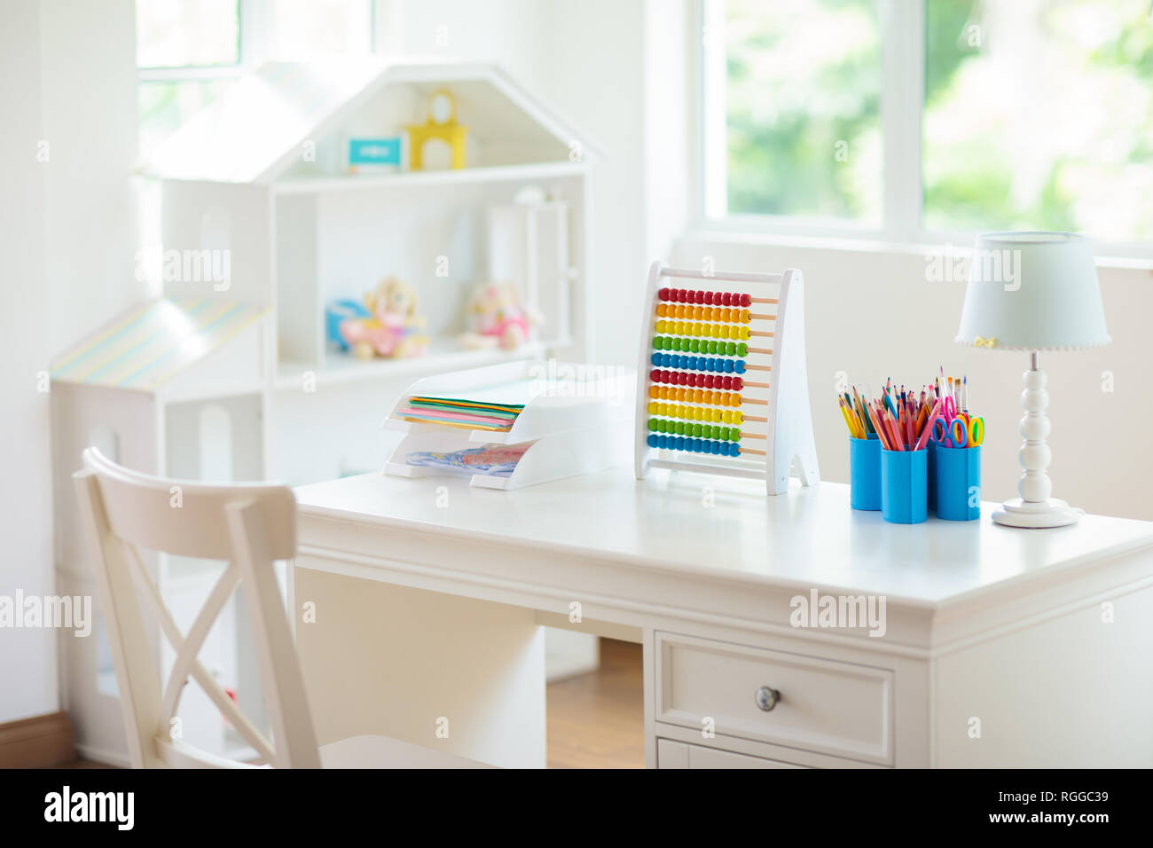 Home Interior Kids Kids Bedroom With Wooden Desk And Doll House White Sunny Room