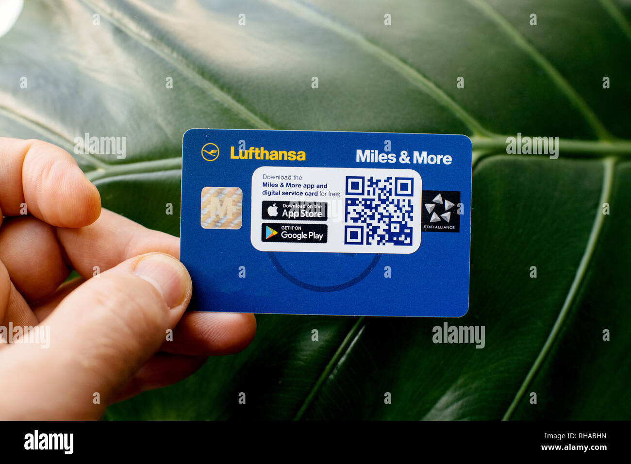Miles And More Digital Service Card Frankfurt Germany Dec 18 2018 Man Holding Against Green Leaf