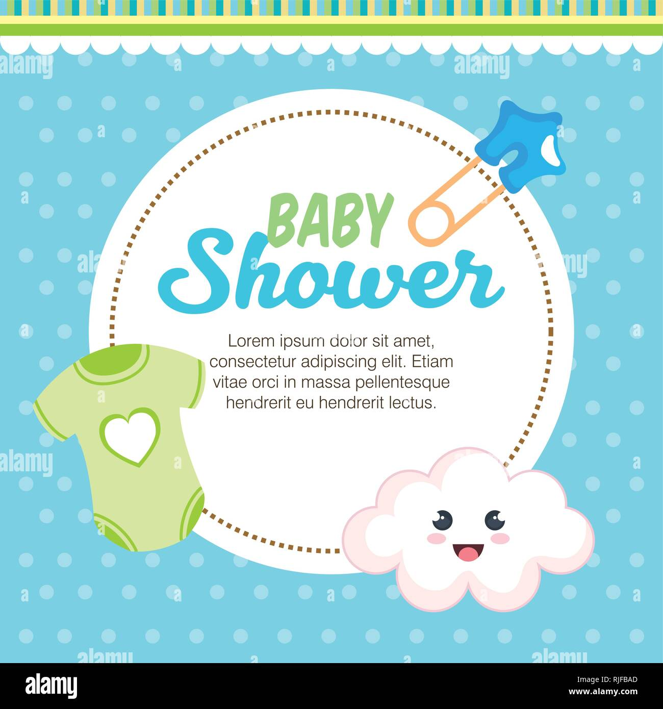 Bad Set For Baby Baby Shower Card With Set Items Stock Vector Art Illustration