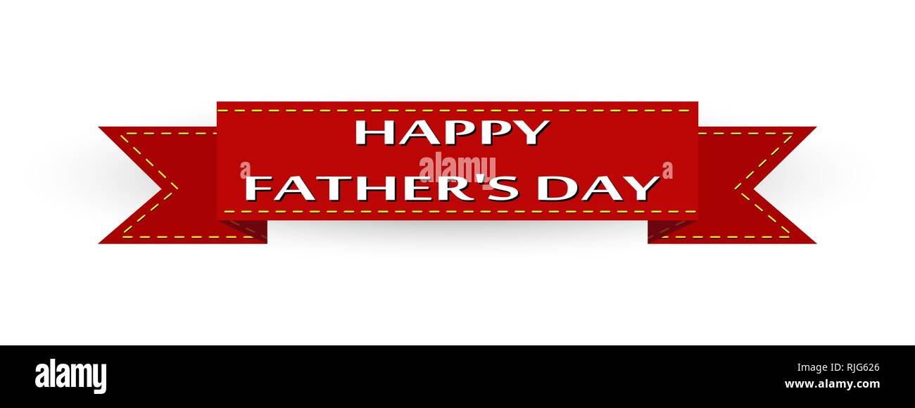 Congratulations, red ribbon with the words Happy Father\u0027s Day Stock