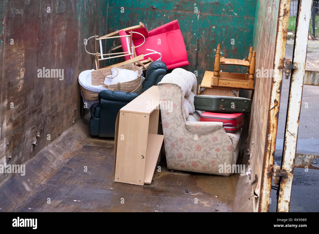 Recycle Furniture Old Furniture And Chairs Rubbish In Steel Container For Charity