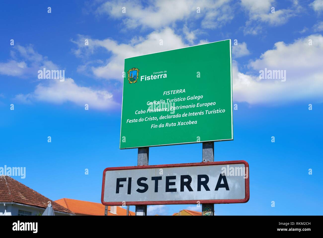 Camino Santiago To Finisterre Fisterra Or Finisterre Road Sign End Of Camino De Santiago Way Of