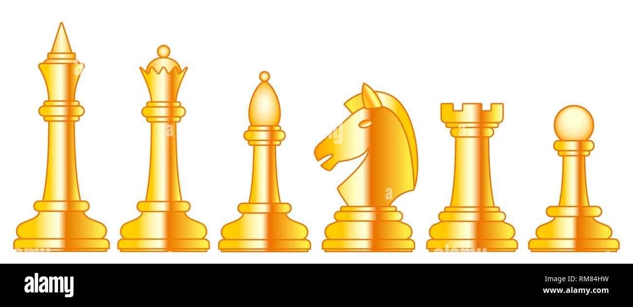 Gold Chess Pieces Illustration Of The Abstract Gold Chess Pieces Set Stock Vector