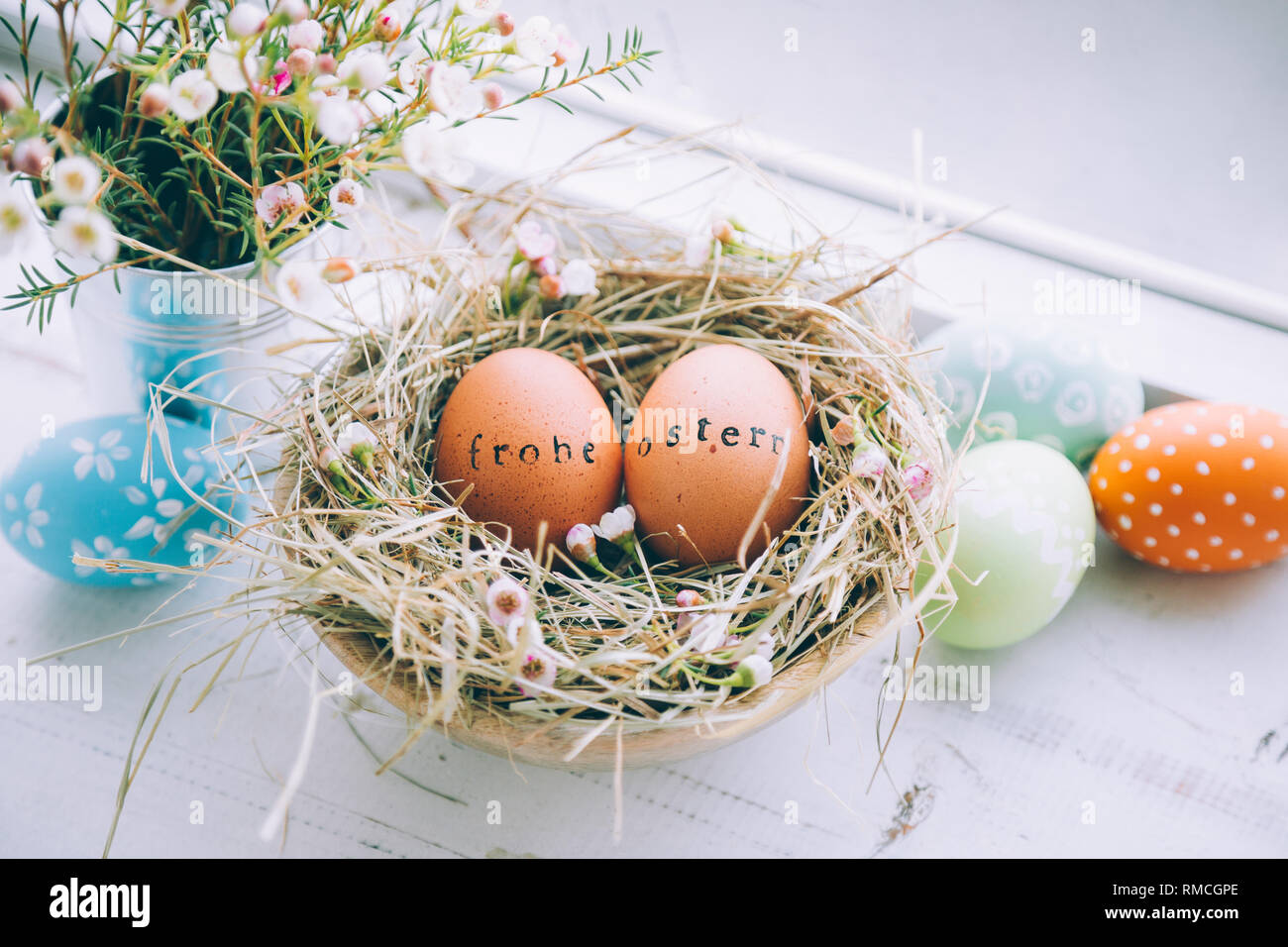 Living At Home Ostern Easter Eggs With Rubber Stamp