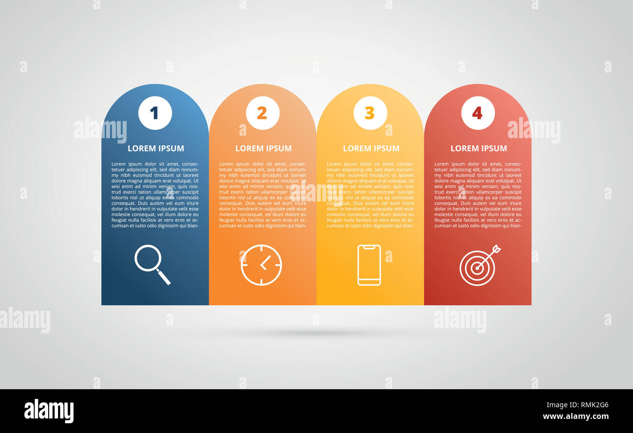 Business Step Infographic 4 Step Process Horizontal For Business Step Vector