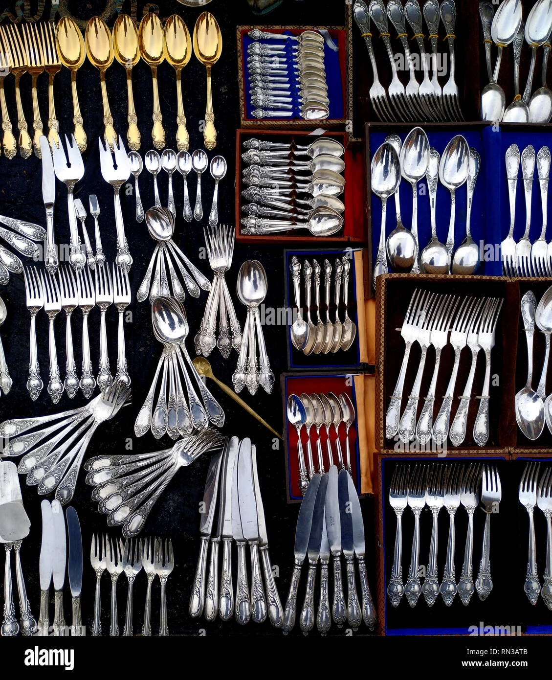 Used Flatware For Sale Used Silverware Flatware Sale Flea Stock Photos Used Silverware